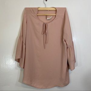 New Violet Claire Blush Tunic Blouse Bell Sleeve